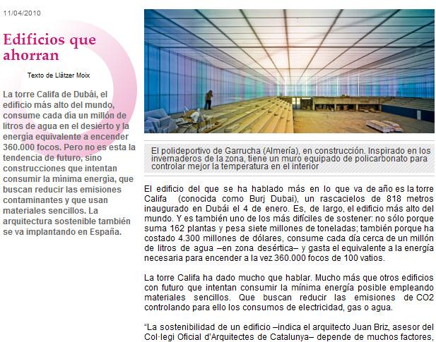 "Pabellón de Garrucha en ""Edificios que ahorran"" por Llàtzer Moix. La Vanguardia 11/04/2010 en Reportajes / Sociedad"